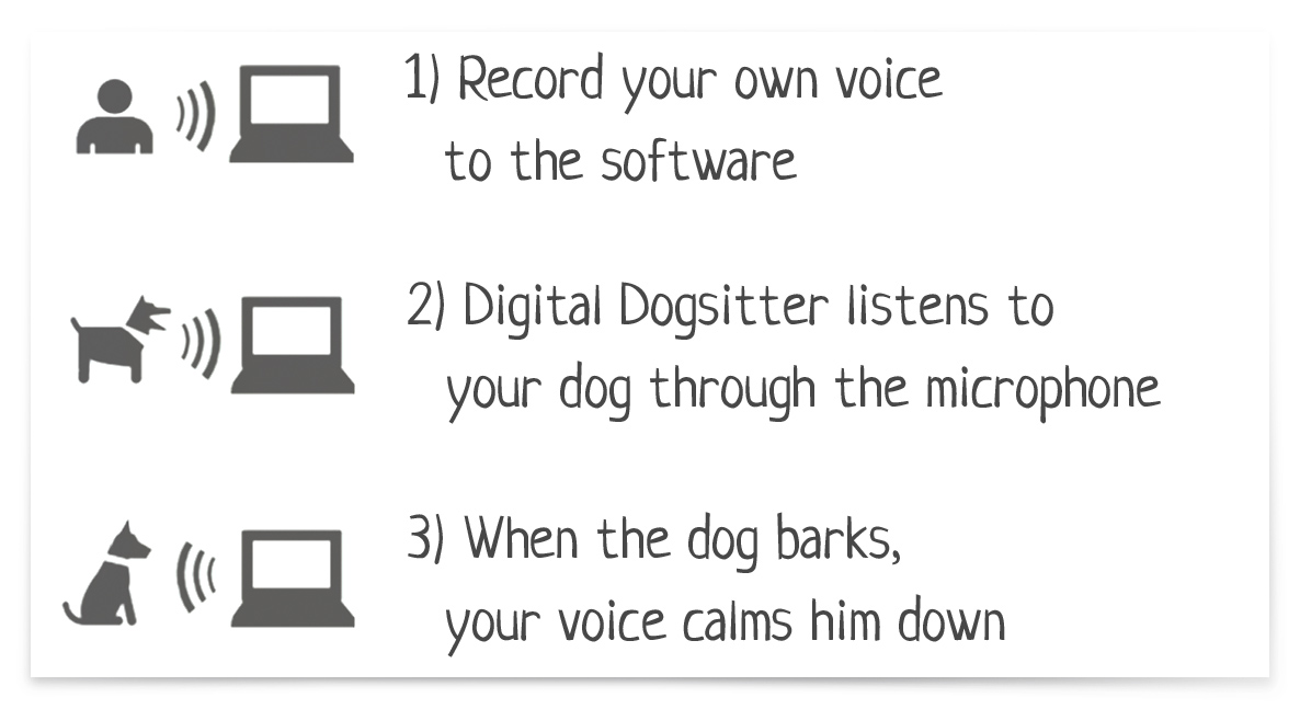 3-steps usage of Digital Dogsitter
